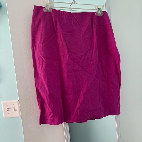 Fuschia linen pencil skirt